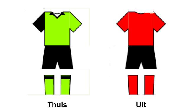 Schematische weergave thuis tenue: groen met zwart, uit tenue: rood met zwart